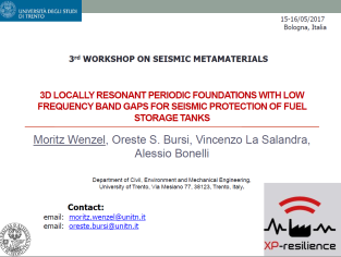 3D Locally Resonant Periodic Foundations with Low Frequency Band Gaps for Seismic Protection of Fuel Storage Tanks