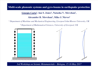 Multi-scale phononic systems and gyro-beams in earthquake protection